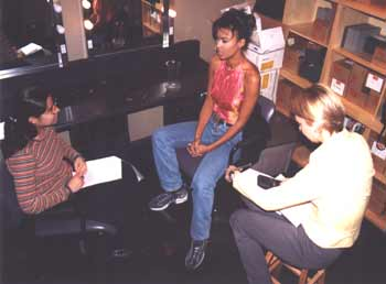 Juliette Powell chats with Faze reporters Vanessa and Liane.