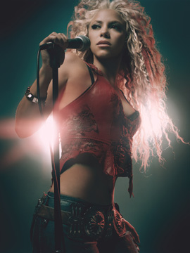 Shakira Singing Photo in Faze Magazine