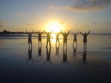 Fresh start on the beach sunrise
