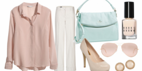Spring outfit made up of pastel coloured clothes
