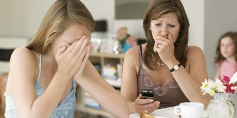 Teen talks to parent