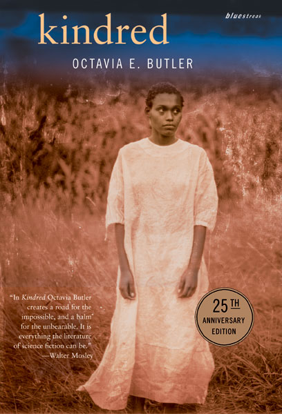 The book cover for Kindred, written by Octavia Butler