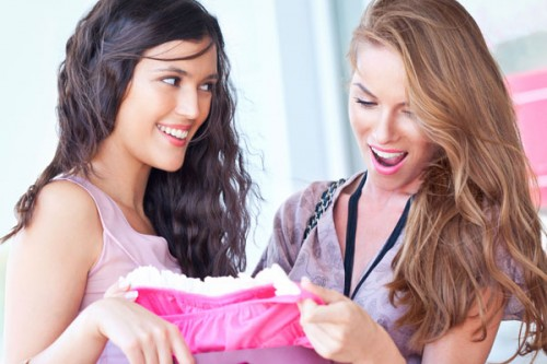 Two girls shopping.