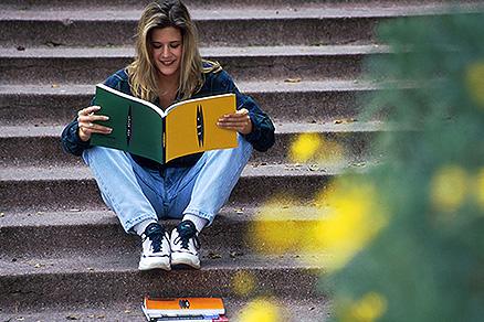student on university steps