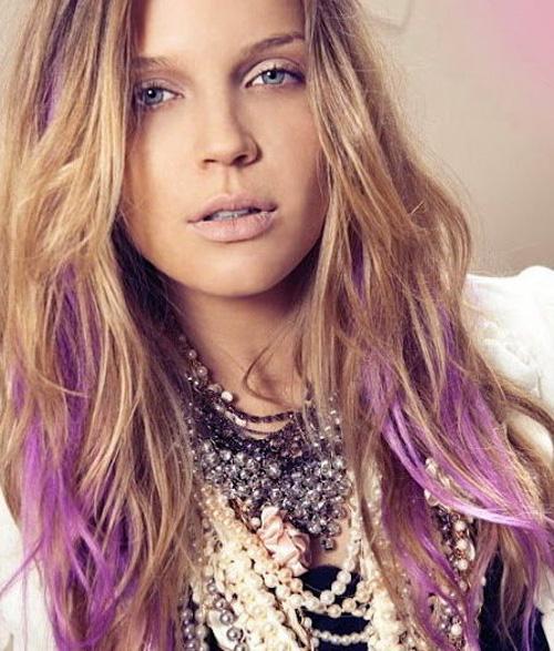 purple hair dip on blond