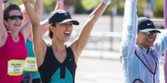 runner celebrating
