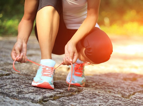 tying your running shoes