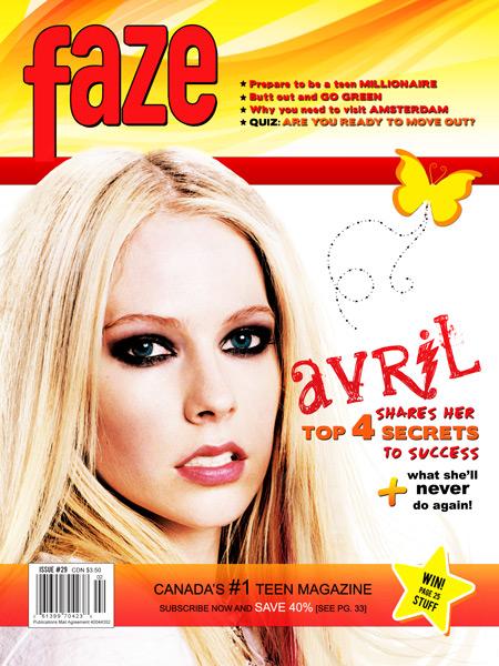 Avril Lavigne on cover of Faze Magazine