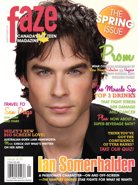 Ian Somerhalder on the cover of Faze Magazine