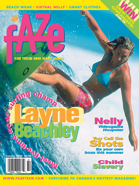 Layne Beachley on the cover of Faze Magazine