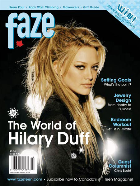 Hilary Duff on the cover of Faze Magazine