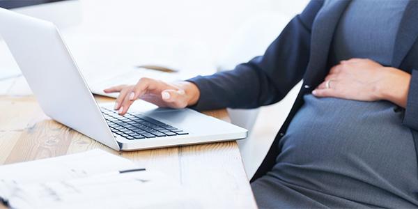 Office desk, pregnant
