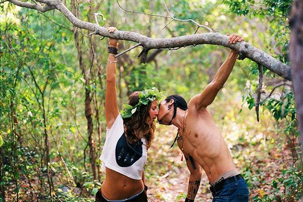 Couple Kissing in Jungle