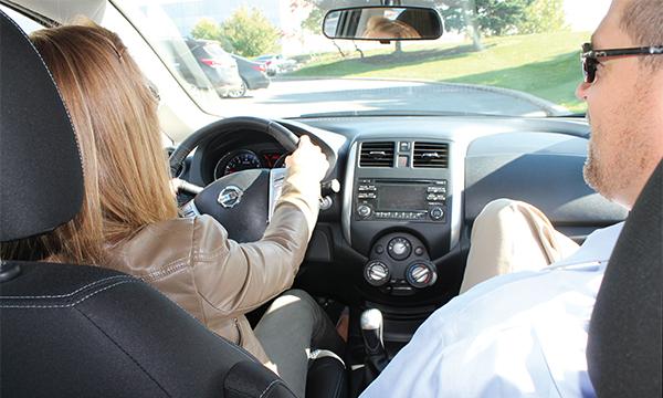 Nissan Sr. Manager Tim Franklin Driving Standard Lesson Dana Krook