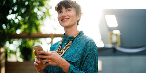 busy women happy healthy cellphone