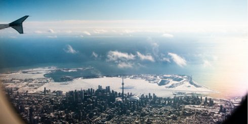 moving to Toronto in plane view